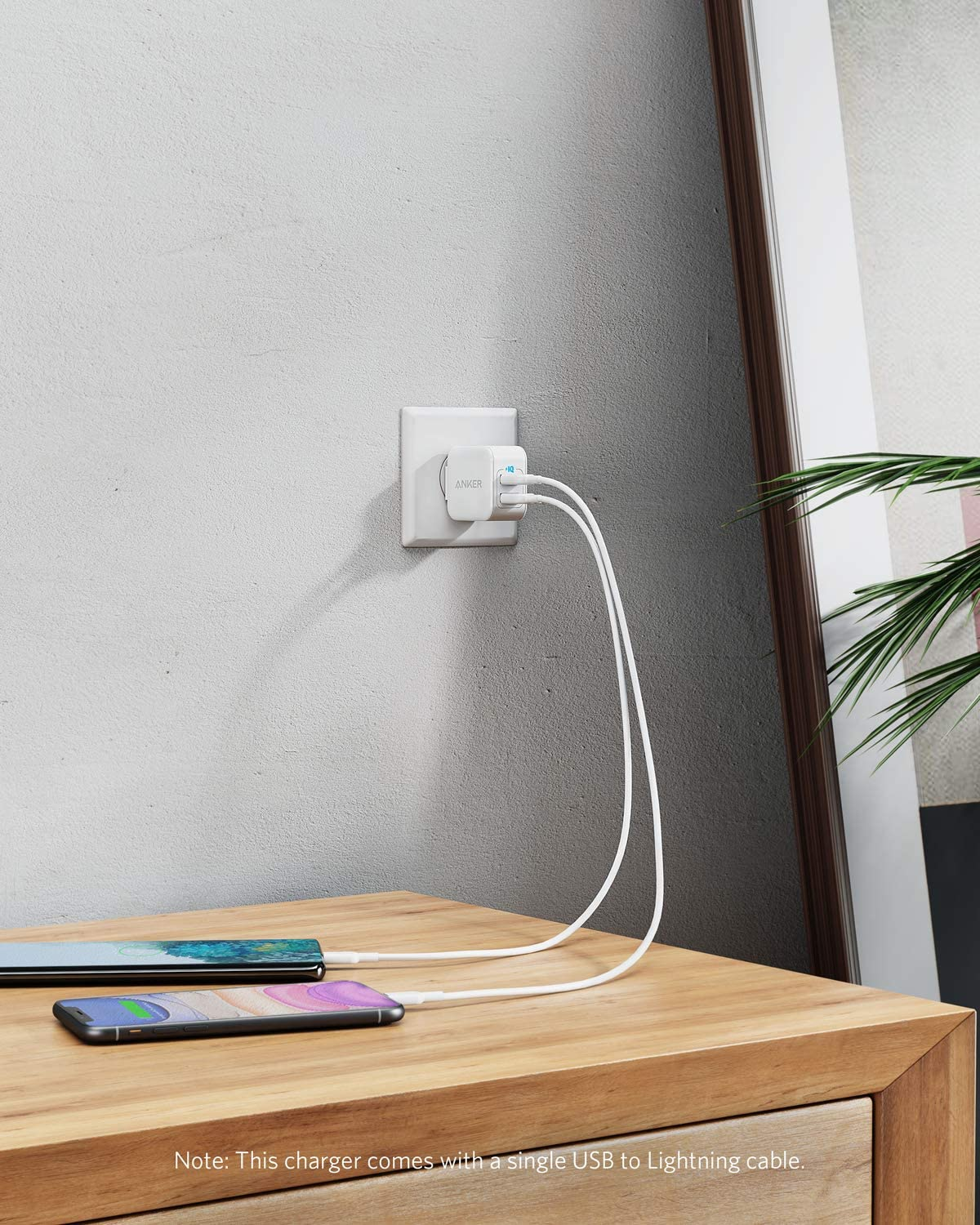 and More iPhone Charger for iPhone Xs//XR// 11//11 Pro//SE 2020// iPad Foldable Plug Anker PowerPort III 2-Port 12W USB Wall Charger with 3ft MFi Certified Lightning Cable