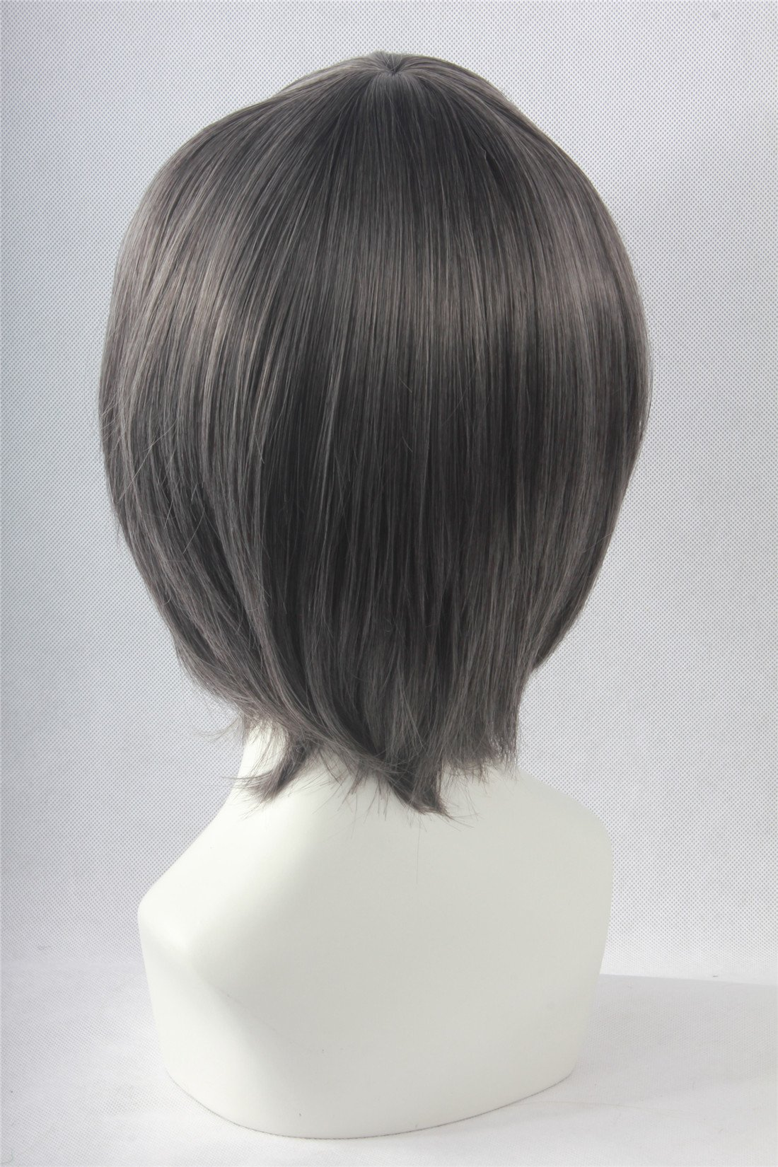 Icoser Anime Cosplay Party Wigs for Halloween Short Green Synthetic Hair 12'' 190g (Gray) by i-coser (Image #3)