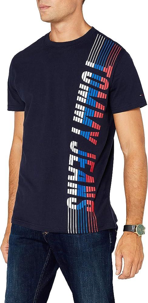 Tommy Hilfiger Vertical Camiseta, Azul (Black Iris 002), Large ...