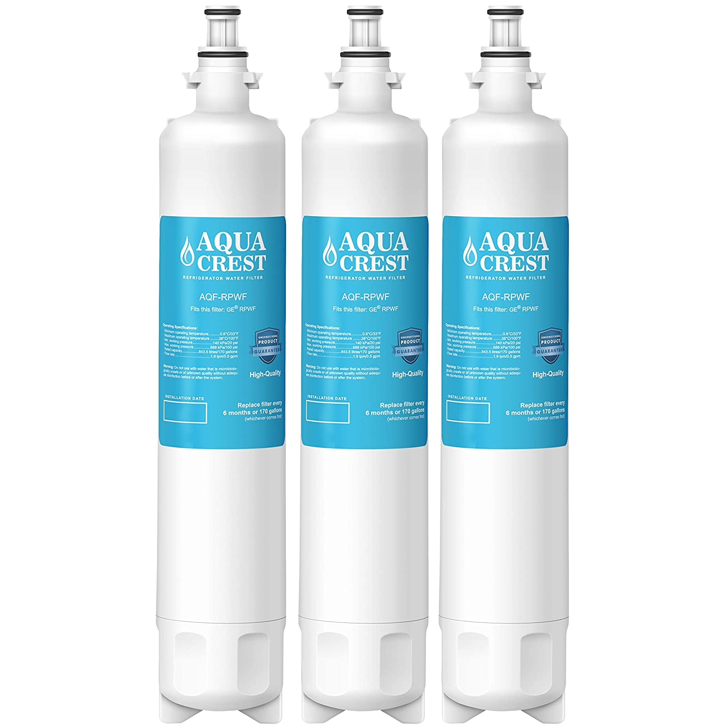 f452695adc Amazon.com: AQUACREST RPWF Replacement Refrigerator Water Filter,  Compatible with GE RPWF (Pack of 3) (NOT RPWFE): Home Improvement
