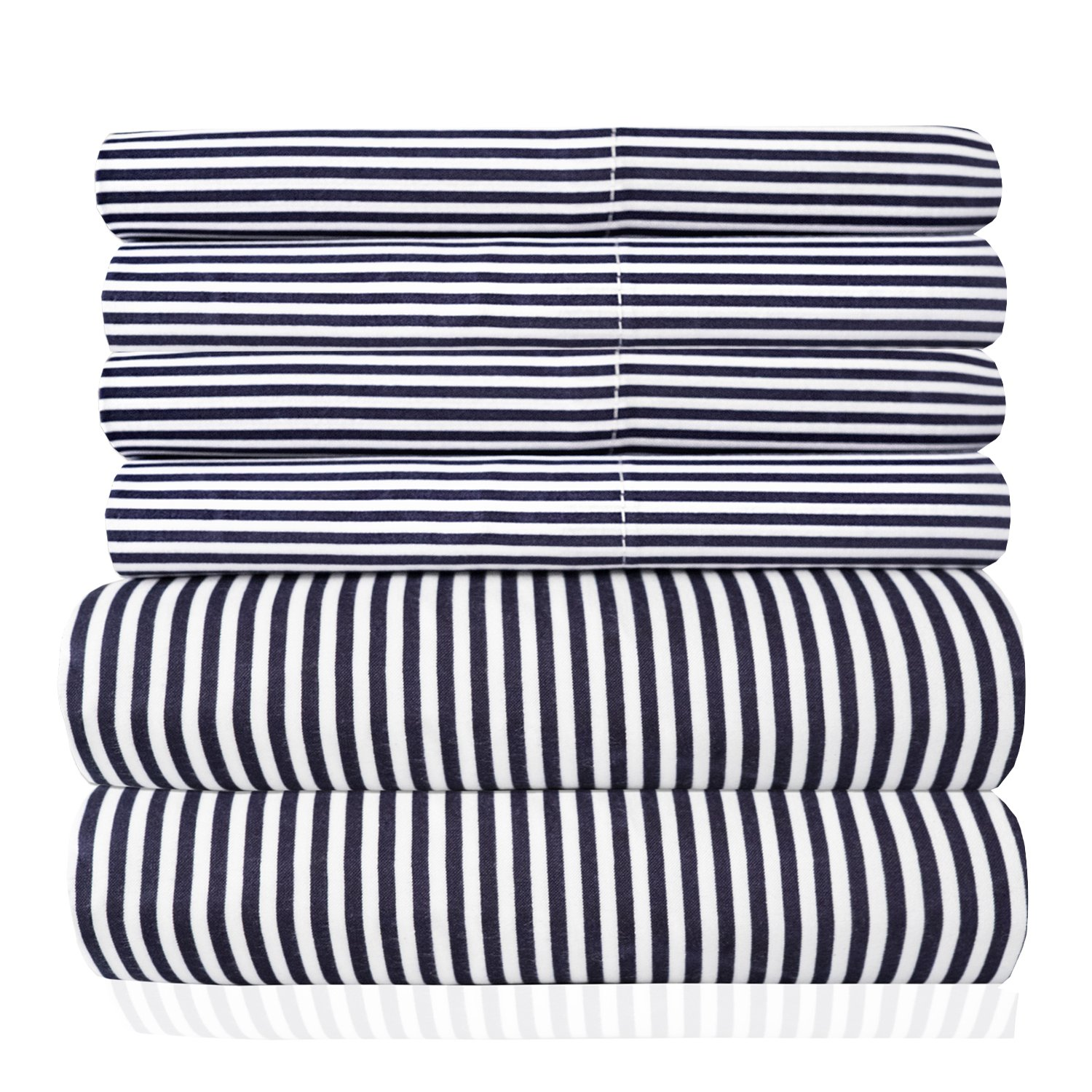 Sweet Home Collection 6 Piece 1500 Thread Count Deep Pocket Bed Sheet Set - 2 Extra Pillow Cases, Great Value, Classic Stripe Navy, Queen