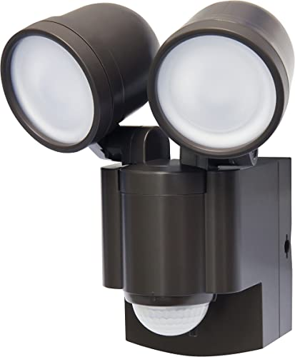 Battery Operated Motion Sensor Twin LED Light Bronze