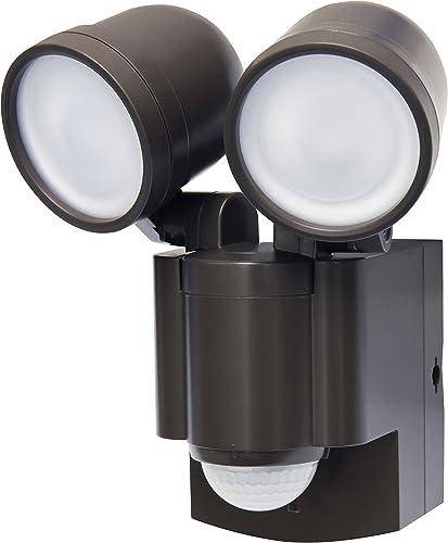 Battery Operated Motion Sensor Twin LED Light Bronze