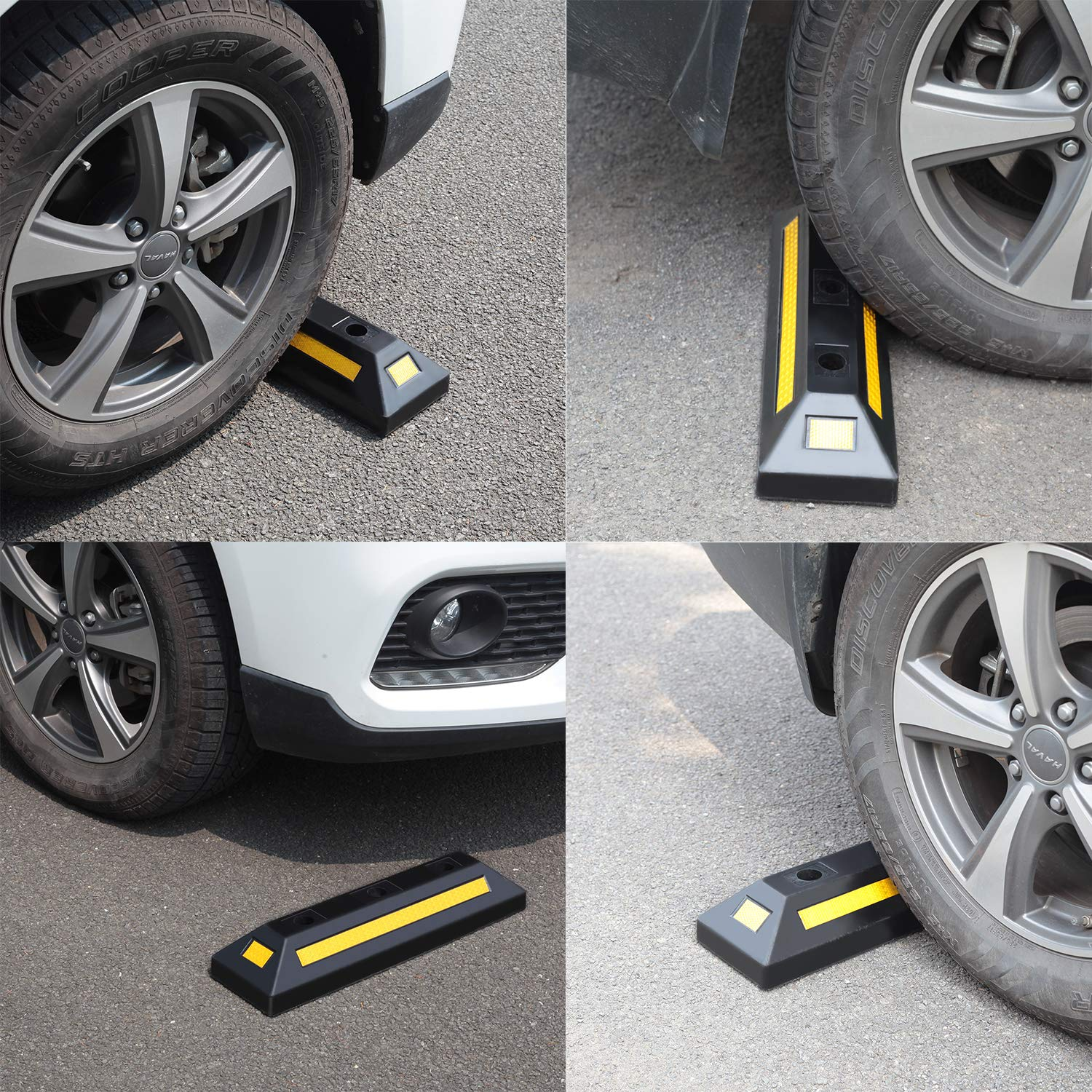 2 Pack Heavy Duty Rubber Parking Blocks Wheel Stop for Car Garage Parks Wheel Stop Stoppers Professional Grade Parking Rubber Block Curb w/Yellow Refective Stripes for Truck RV, Trailer 21.25''(L) by Reliancer (Image #8)