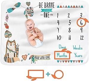 Stand Tall Accessories Baby Milestone Blanket Monthly Milestone Blanket for Newborn Boy or Girl, Photo Blanket for Baby Pictures, for Baby Shower, Premium Soft Fleece, Large 51''x40''
