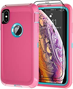 Qutechwood for iPhone Xs MAX Case with 2 Screen Protector, Full Body Protection Heavy Duty, Drop-Proof Shockproof 3-Layer Military Grade Cover for Apple iPhone Xs MAX 6.5