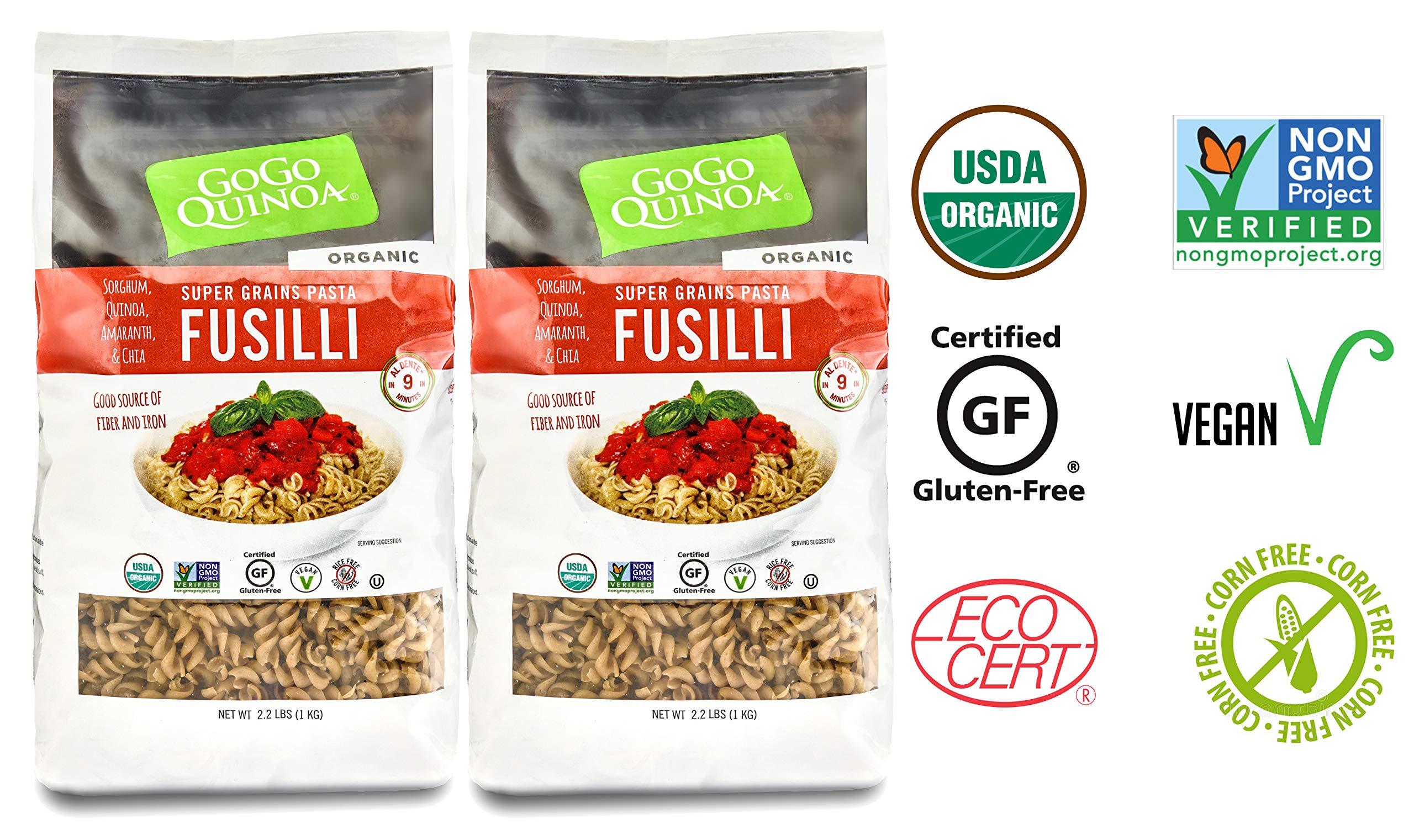 GoGo Quinoa Organic Supergrains Fusilli Pasta, Vegan, Gluten Free Dry Pasta, 35.2 oz x 2 by GoGo Quinoa