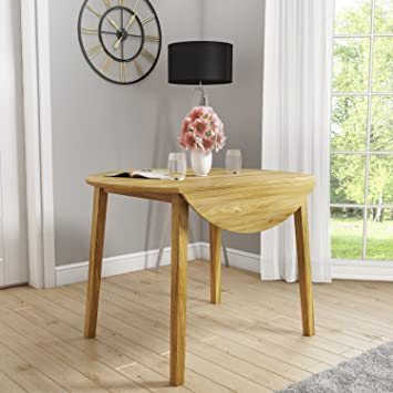 New Haven Round Drop Leaf Dining Table In Light Oak Finish Amazon