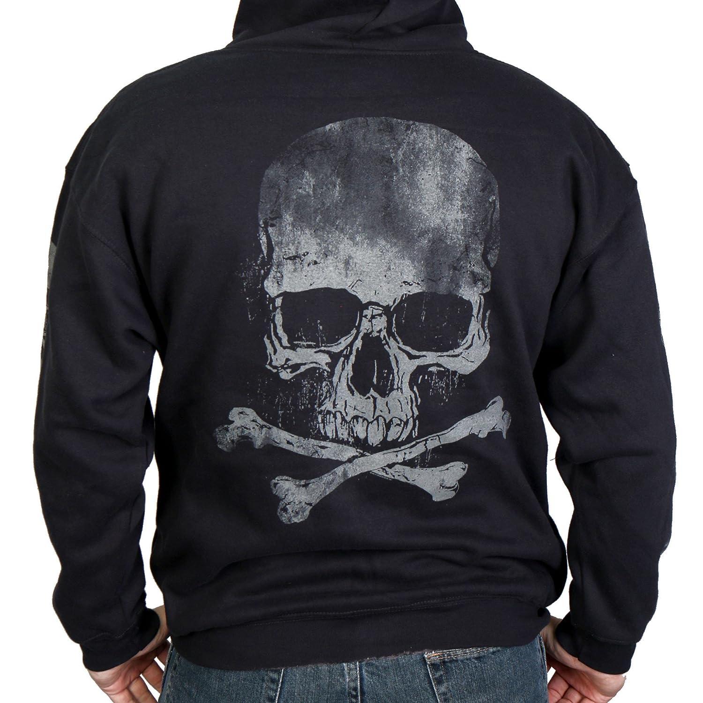 Hot Leathers Men's Skull and Crossbones Zip-Up Hooded Sweatshirt (Black, XXX-Large) 25441