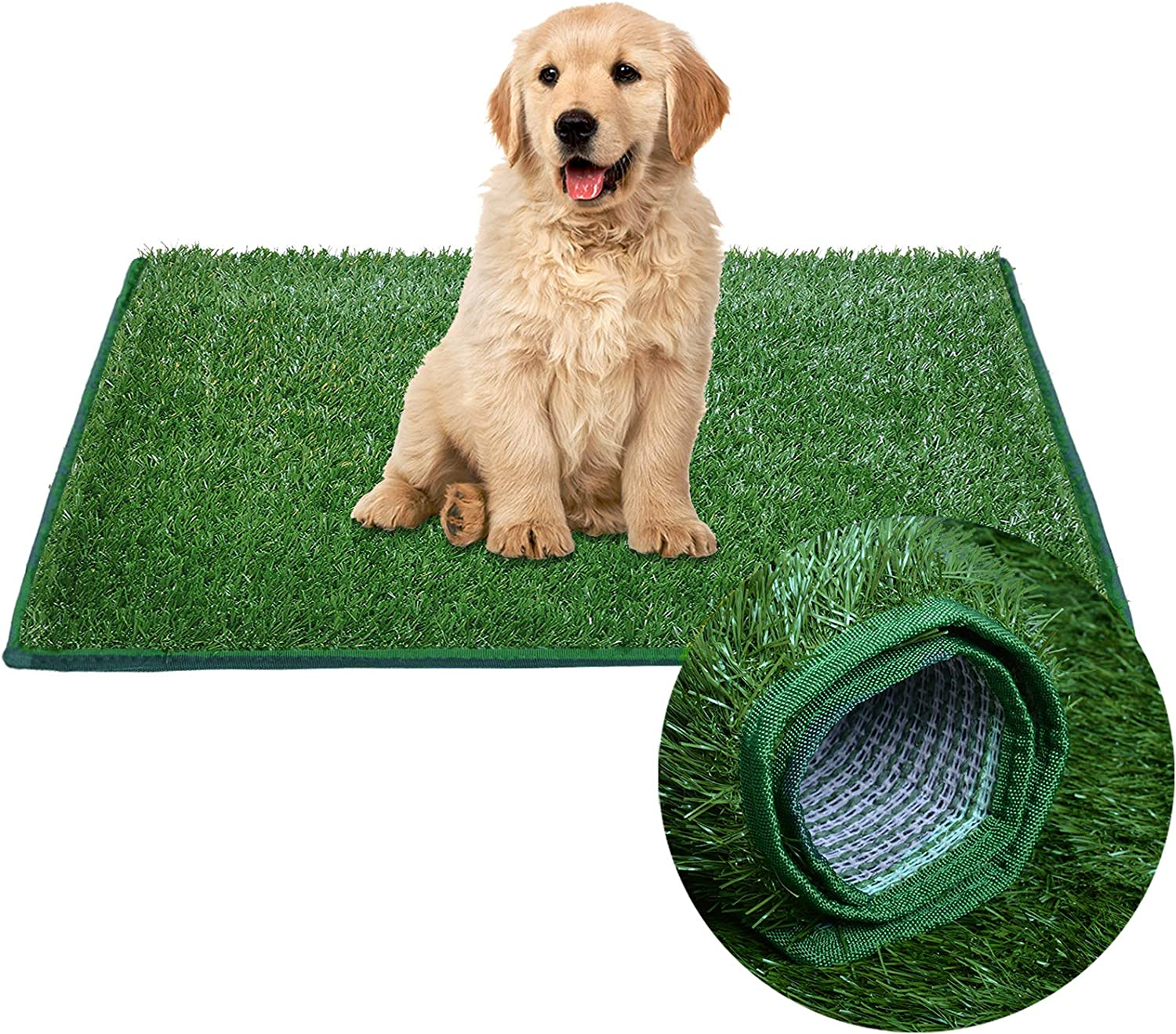 LOOBANI Dog Hemming Grass Bathroom Pads, Artificial Turf Pet Grass Replacement Mat, Portable Puppy Potty Trainer for Indoor/Outdoor Use
