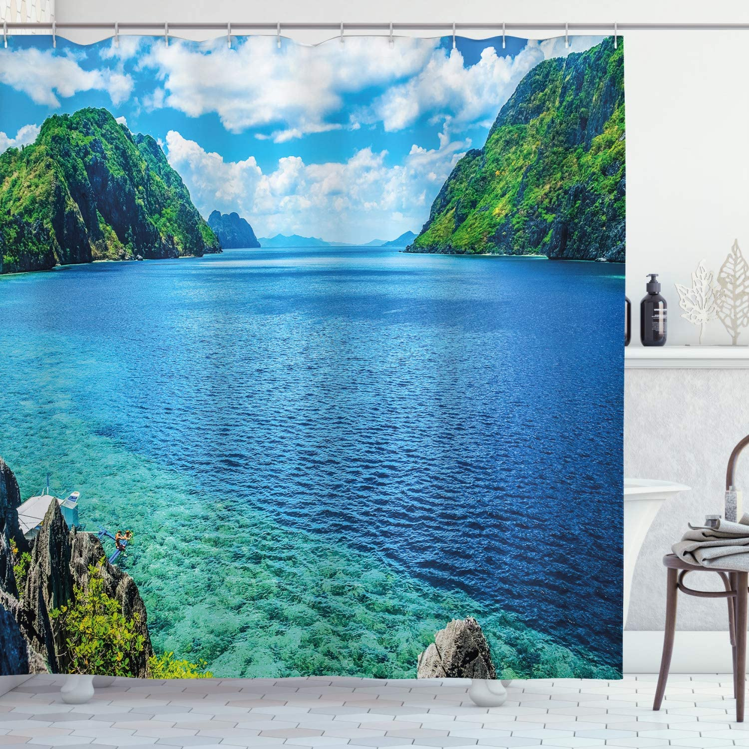 """Ambesonne Nature Shower Curtain, Scenic View Sea Bay and Mountain Islands in Palawan Philippines Idyllic Image, Cloth Fabric Bathroom Decor Set with Hooks, 70"""" Long, White Green"""