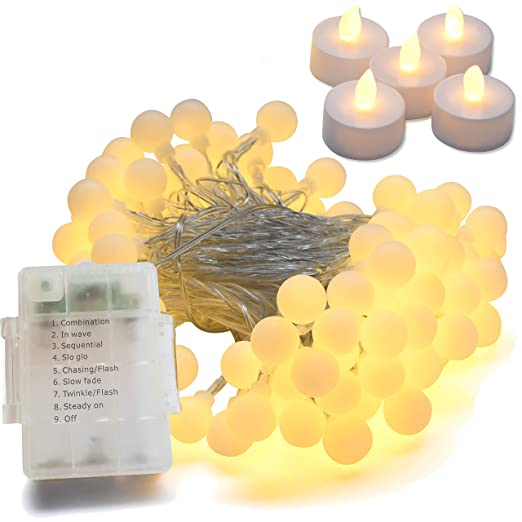 6cd77e27882f1 Guirnalda luces exterior e interior a pilas 10m 100 LEDs blanco calido + 5  velas led