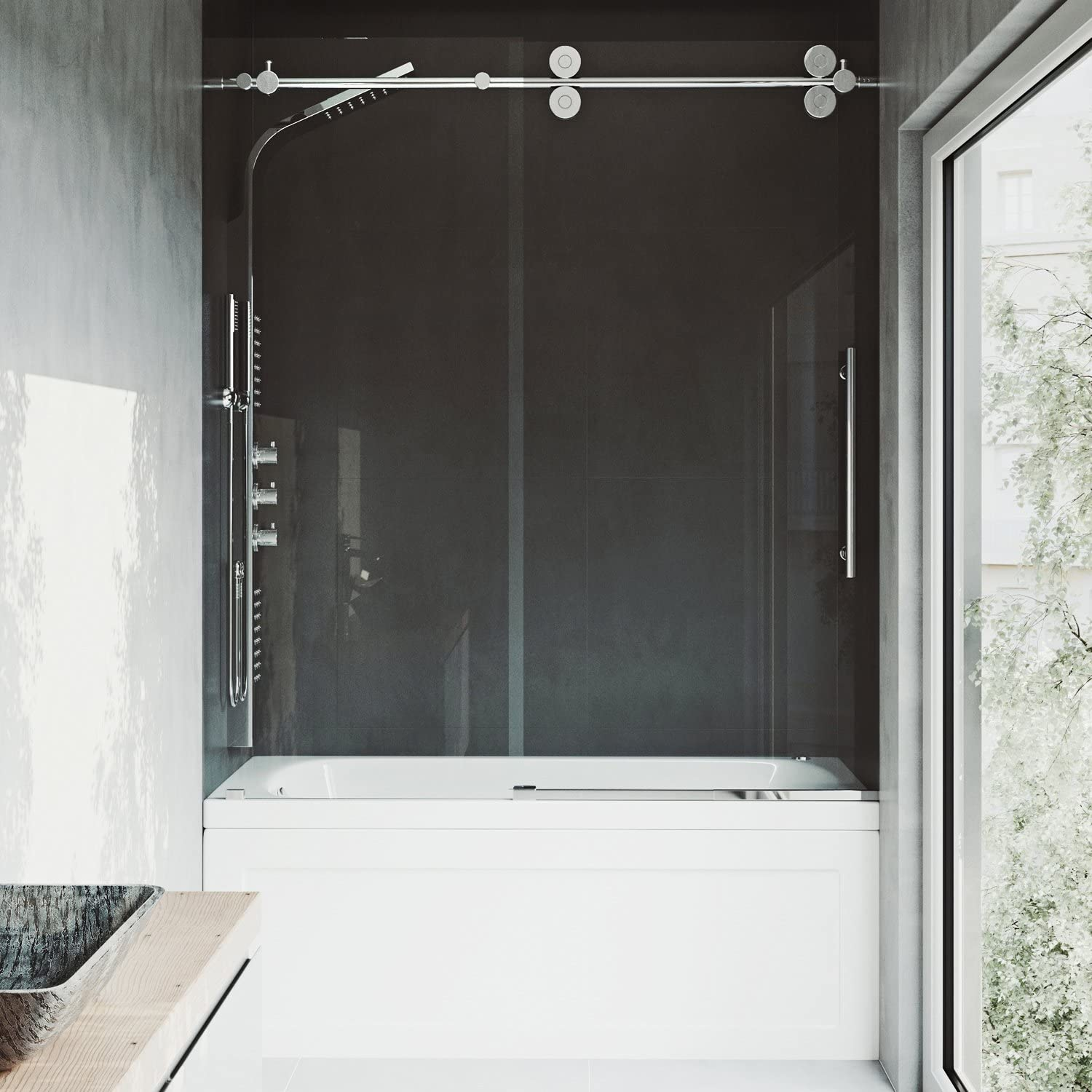 VIGO Elan 56 to 60-in. Frameless Sliding Tub Door with .375-in. Clear Glass and Chrome Hardware