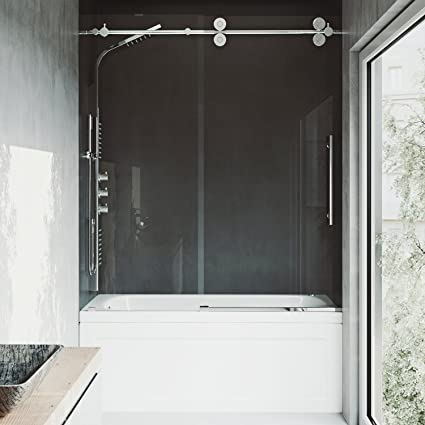 on bathtub with sliding gl doors