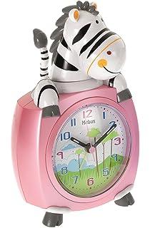 Analoger Wecker Kinderwecker Zebra blau mit schleichende Sekunde