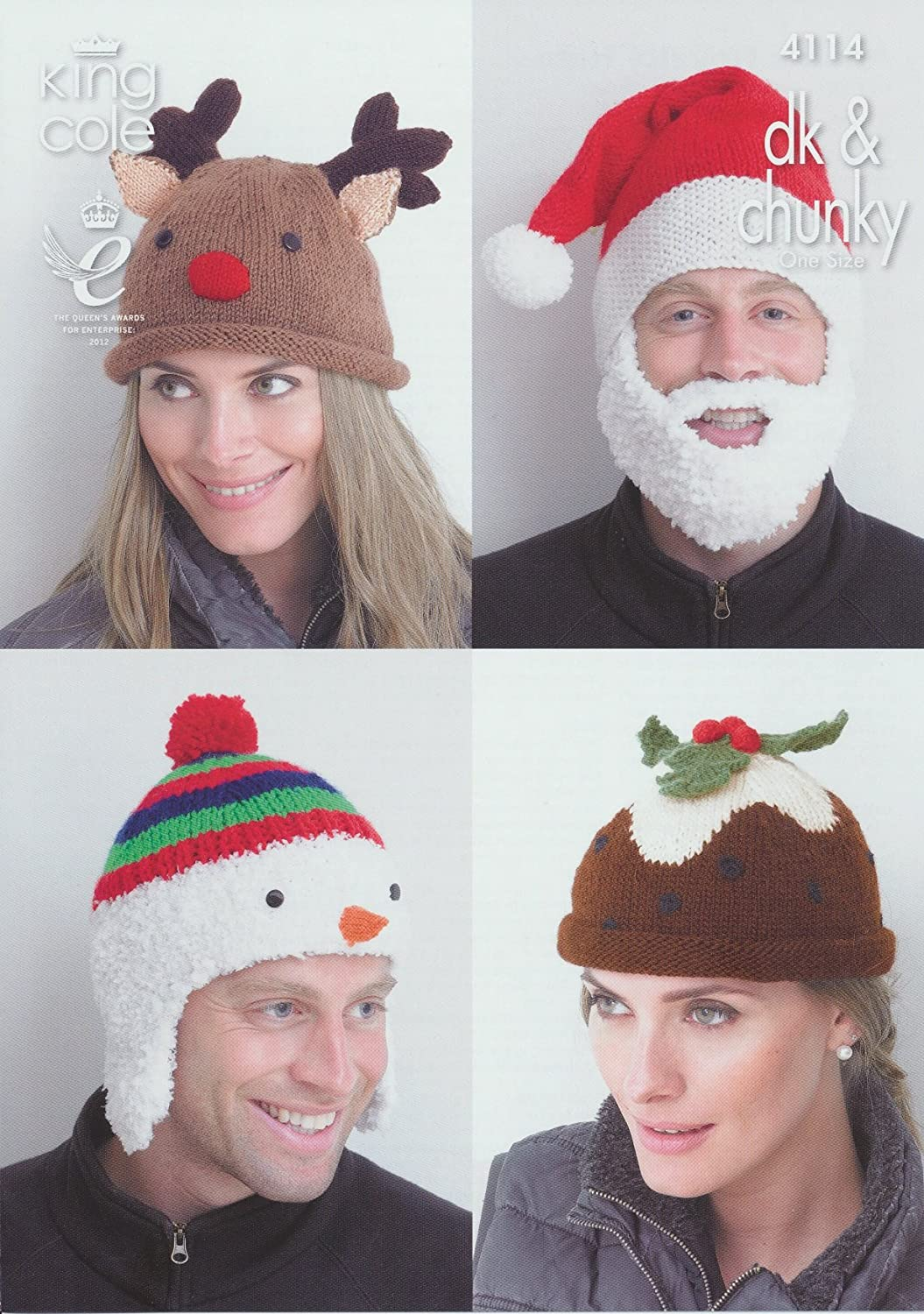 King Cole DK & Chunky Adults Christmas Hat Knitting Pattern Snowman ...