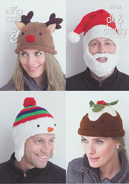 King Cole DK   Chunky Adults Christmas Hat Knitting Pattern Snowman Rudolph  Christmas Pud Santa  Amazon.co.uk  Kitchen   Home f50d07d065c9