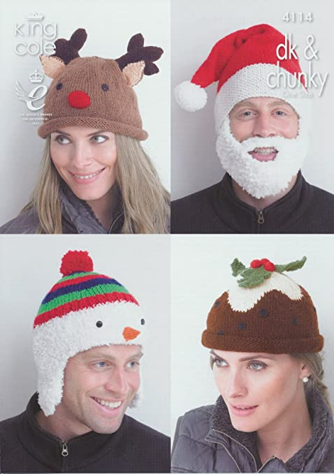 King Cole DK   Chunky Adults Christmas Hat Knitting Pattern Snowman Rudolph  Christmas Pud Santa  Amazon.co.uk  Kitchen   Home 9bf6f96c38e