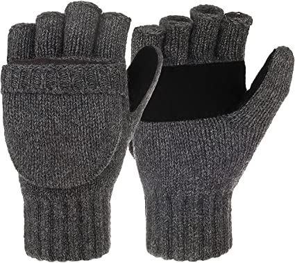 Mens Black Super Soft Warm Thinsulate Knit Thermal Fingerless Winter Gloves