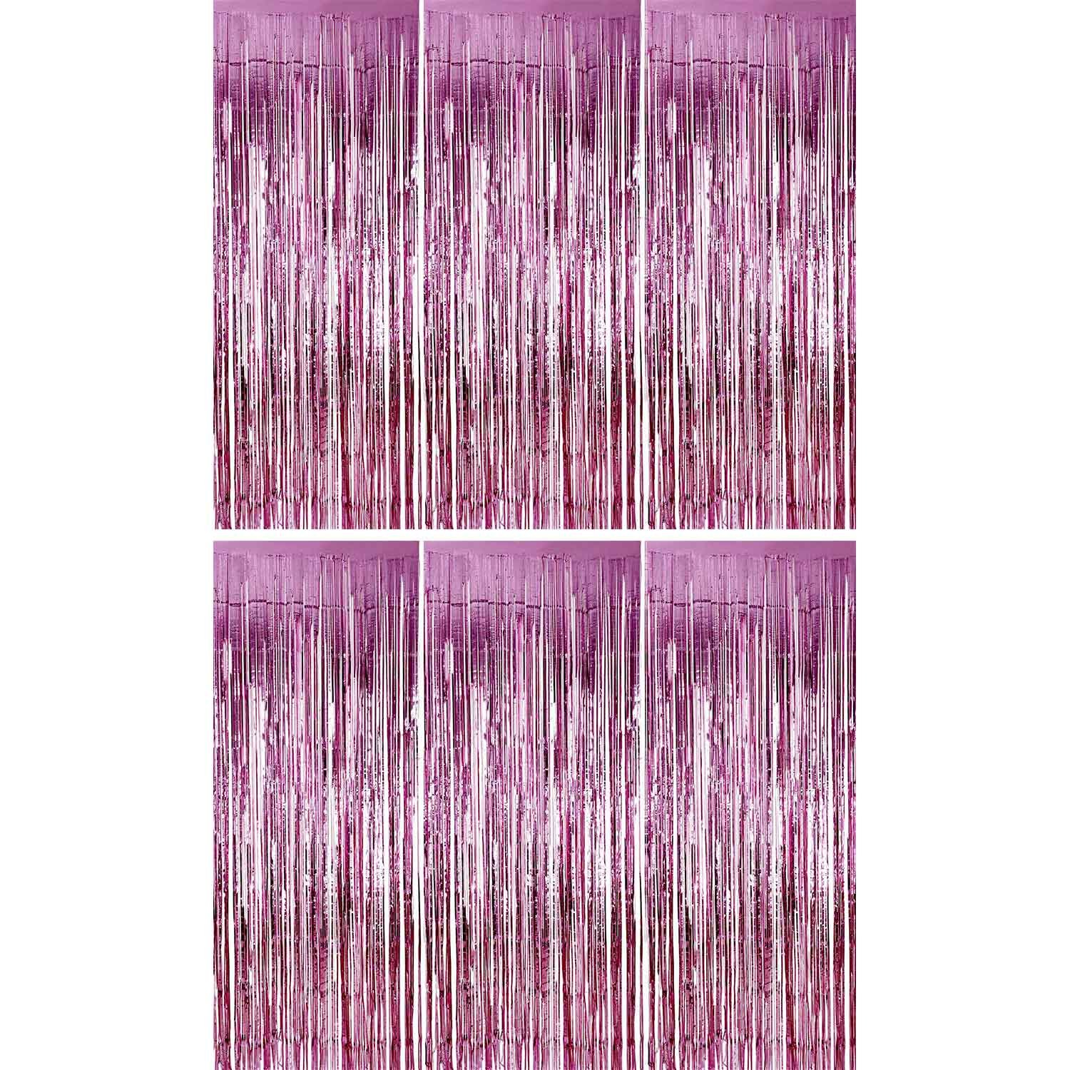 Sumind 6 Pack Foil Curtains Backdrop Fringe Tinsel Metallic Curtains Photo Backdrop for Wedding Birthday Party Stage Decor (Pink)