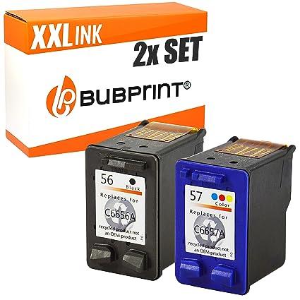 Bubprint 2 Cartuchos de impresora compatible con HP 56 + 57 HP ...