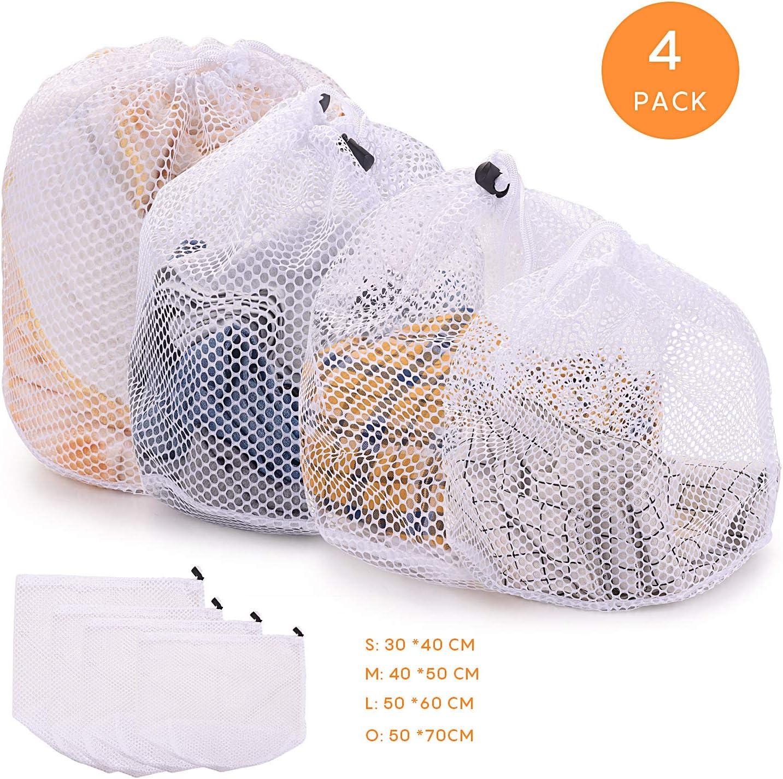 FORMIZON 4 Piezas Lavado Bolsa, Bolsa de lavandería de Malla, con Cordón, Bolsas para la Colada para Medias, Sujetador, Falda y Proteger la Ropa Interior (Red Gruesa)