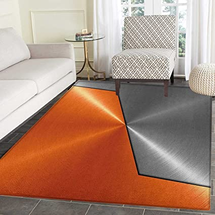 Orange And Grey Area Rug Carpet 3D Style Machinery Structure Image Detailed  Vivid Modern Contrast Colors