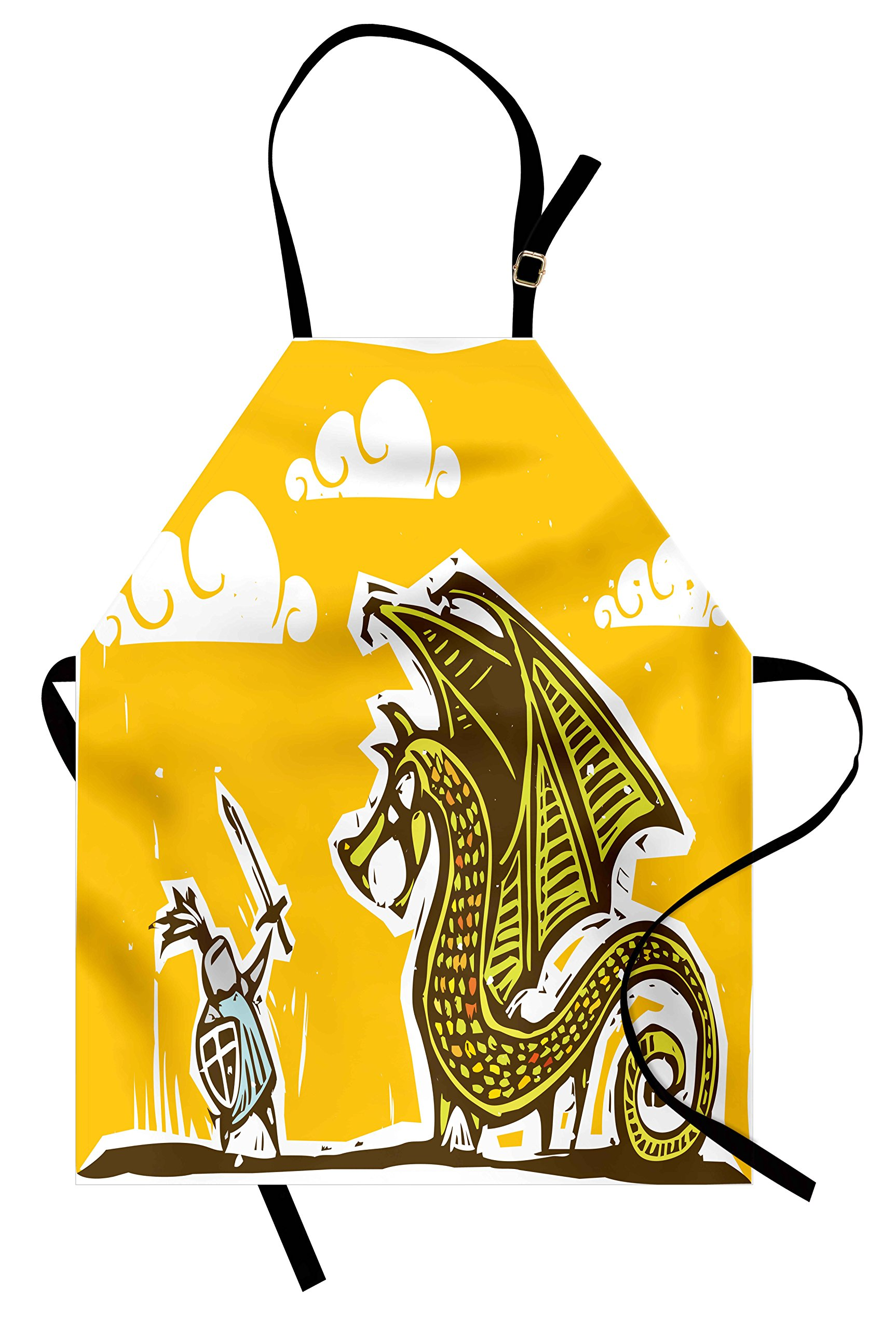 Ambesonne Dragon Apron, Knight with Shield in Steel Armour Against Dragon with Wings Cartoon Middle Ages Design, Unisex Kitchen Bib Apron with Adjustable Neck for Cooking Baking Gardening, Yellow