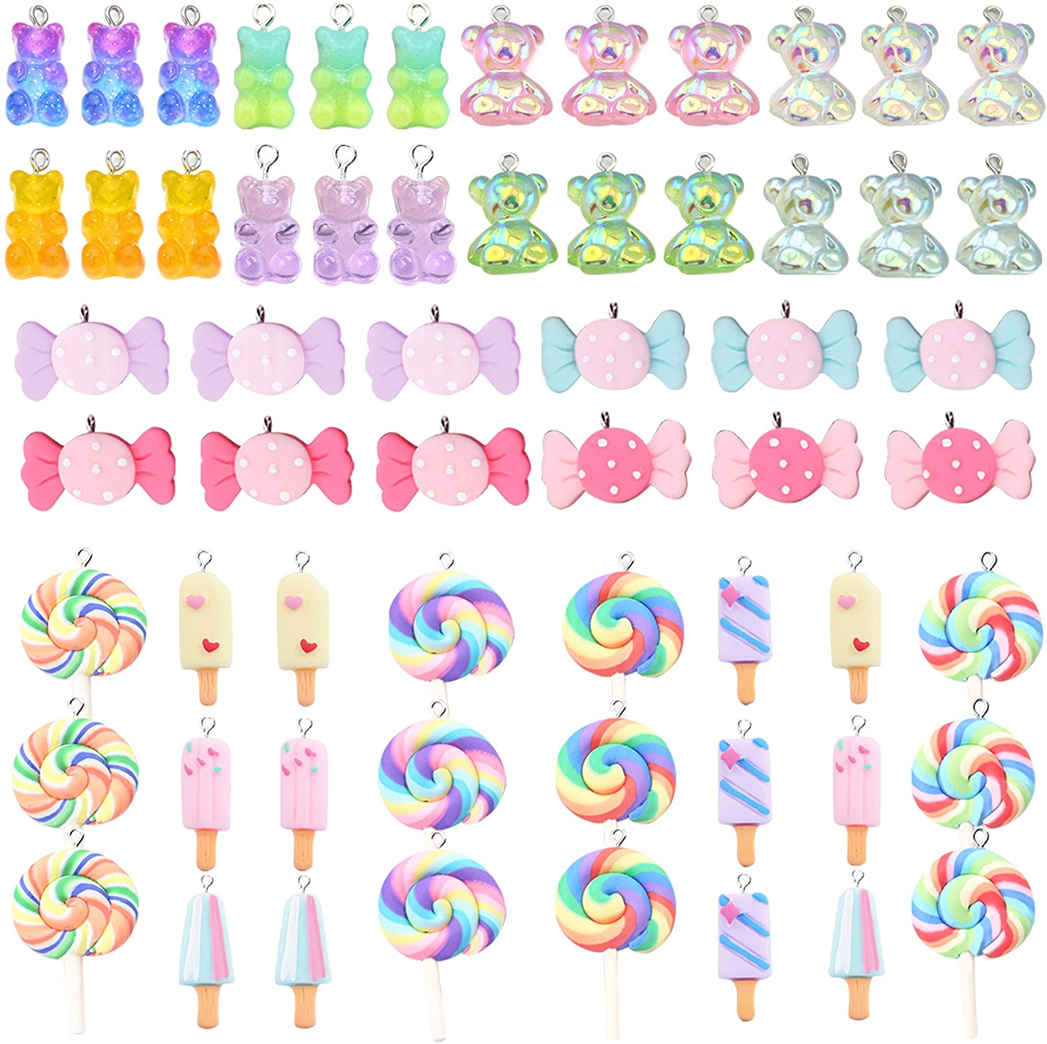 Colorful Candy Pendant Charm, 60 Pcs Mixed Cute Charms Set Gummy Bear Charms Ice Cream Sweet Candy Pendants Lollipop Shape Polymer Clay Charms Resin Charms for Jewelry Making