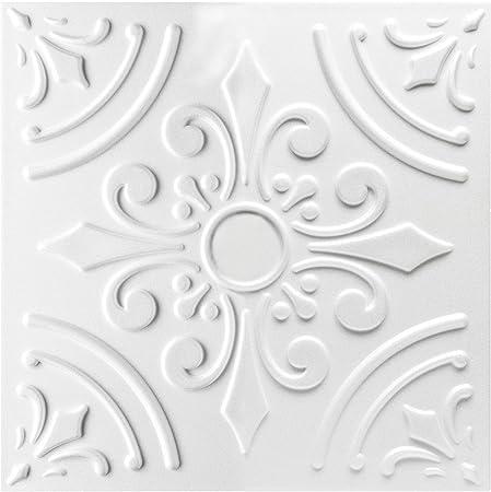 Paquet D'Économies Plaques Intérieur Rénover en Polystyrène 50x50cm, Nr.33 blanc, 30 M ²120 Plaques
