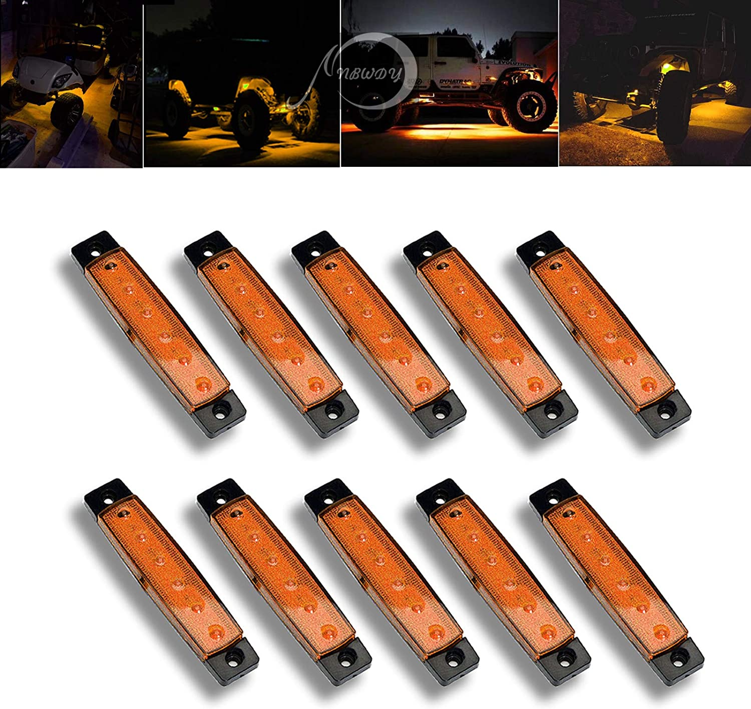 Red Cab,RV,SUV HGV,Offroad NBWDY 10 Pcs Waterproof 3.8 Sealed Red LED Marker//Rock//Wheel//Underglow Light Kits for Jeep,Snowmobile,Truck,Golf Cart,Lorry,RV,Camper