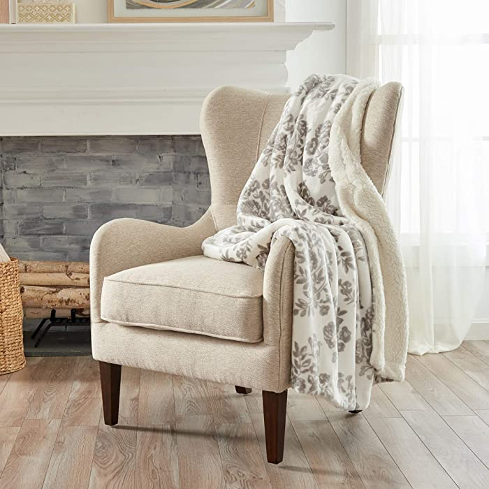 Home Fashion Designs Premium Reversible Two-in-One Sherpa and Fleece Velvet Plush Blanket. Fuzzy, Cozy, All-Season Berber Fleece Throw Blanket. (Toile - Grey)