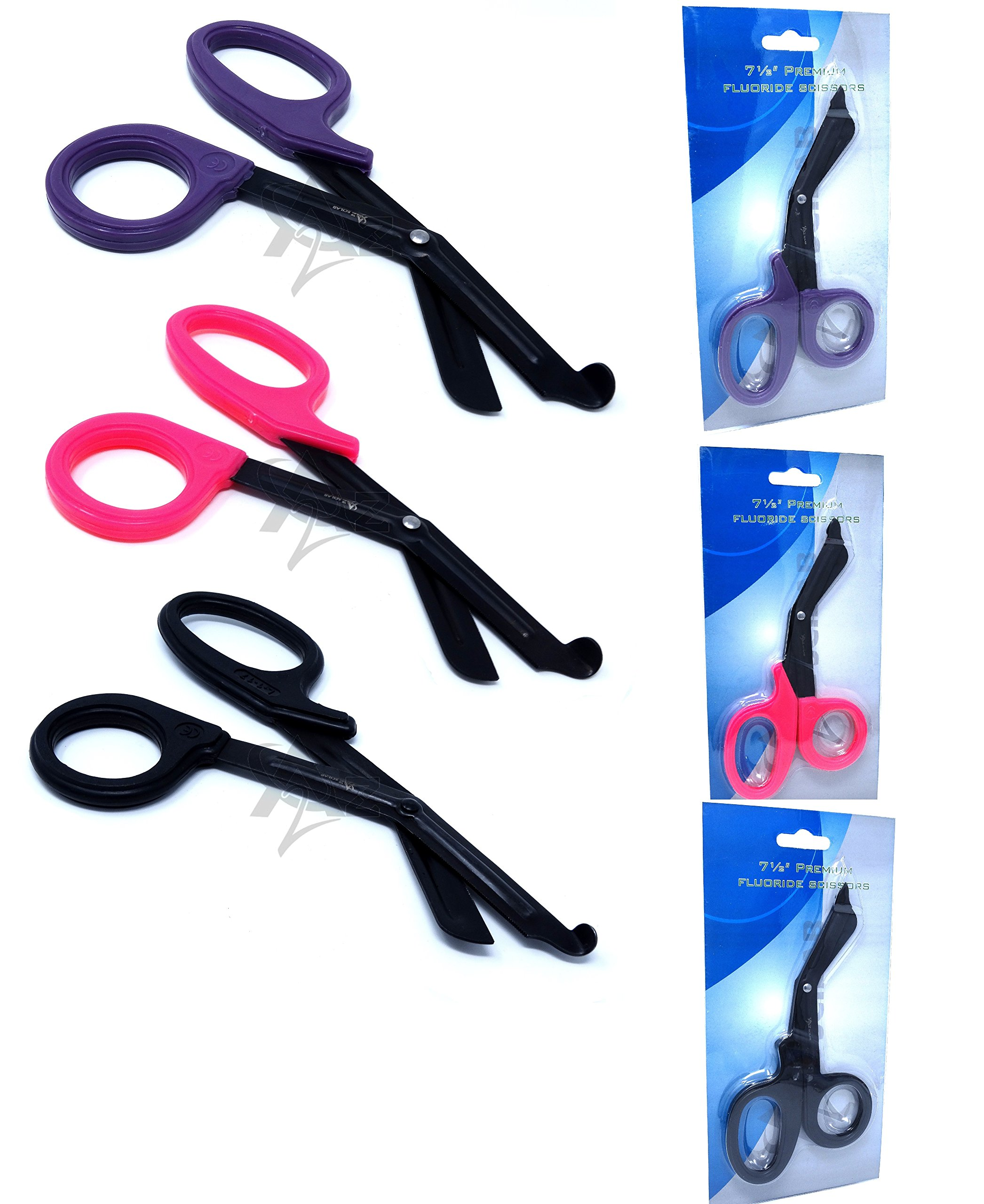 Set of 3 ( BLACK PINK PURPLE ) Fluoride Coated Trauma Paramedic EMT Shears Scissors 7.5'' (A2Z BRAND) by A2Z