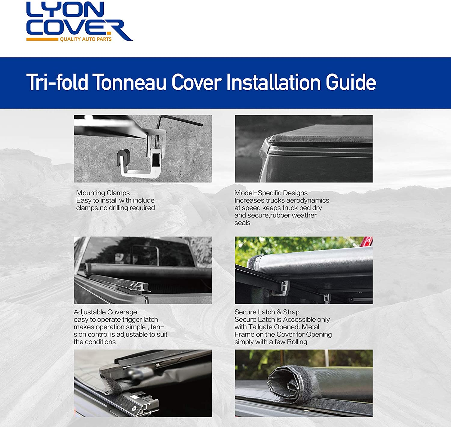 3 Years Warranty Lyon cover 5//60.3 Soft Tri Fold Truck Bed for 2020 Jeep Gladiator JT Tonneau Cover for Models with or Without The Deckrail System LED Lamp