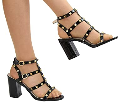 6fd2d1c30ed Miss Diva 009 Ladies Ankle Strap Studded Block Heel Sandals