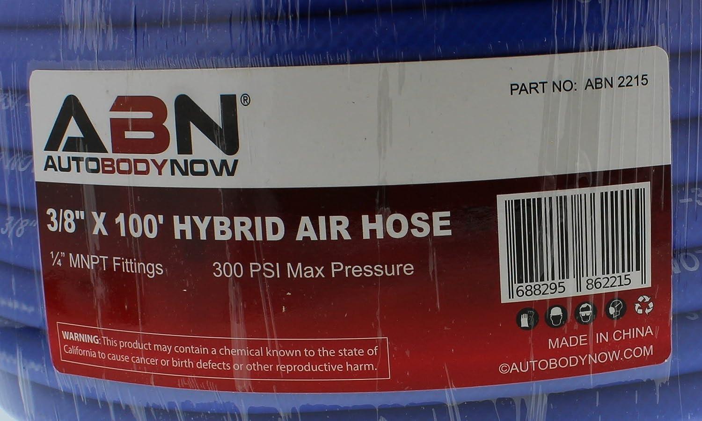 300 PSI ABN Air Compressor Hose 100/' Feet Long 3//8 Air Hose All Weather-Proof Lightweight Hybrid 1//4 Inch MNPT Ends
