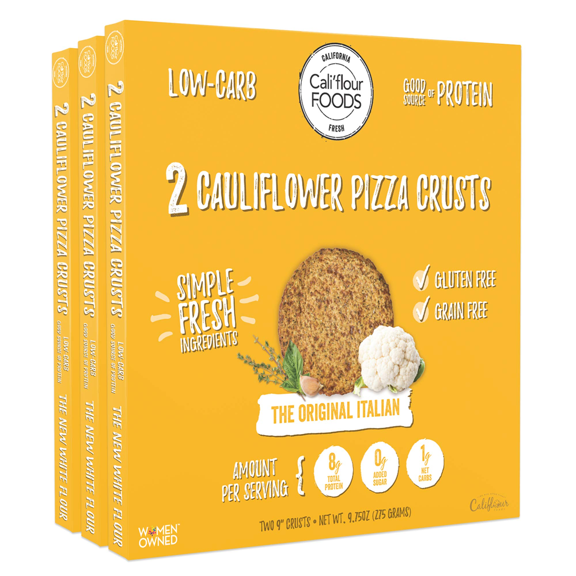 Cali'flour Foods Pizza Crust (Original Italian, 3 Boxes, 6 Crusts) - Fresh Cauliflower Base | Low Carb, High Protein, Gluten and Grain Free | Keto Friendly by THE NEW WHITE FLOUR CALIFLOUR FOODS