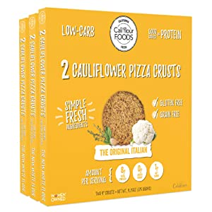 Cali'flour Foods Pizza Crust (Original Italian, 3 Boxes, 6 Crusts) - Fresh Cauliflower Base   Low Carb, High Protein, Gluten and Grain Free   Keto Friendly