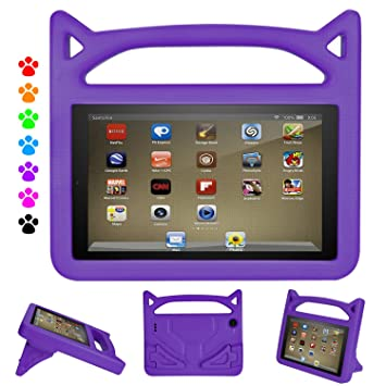 hot sale online 7c24d c319a DiHines 7 inch Case Light Weight Shock Proof Handle Friendly Stand  Kid-Proof Case for All New 7 inch Display Tablet Cover(2015&2017 Release)  (Purple)