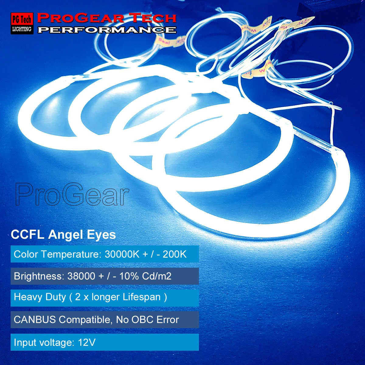 Heavy Duty Ccfl Angel Eye Halo Ring Drl E36 E38 E39 E46 Eyes Neon Shadow Double With Projector Headlight 131 Mm X 4 30000k Blue Automotive