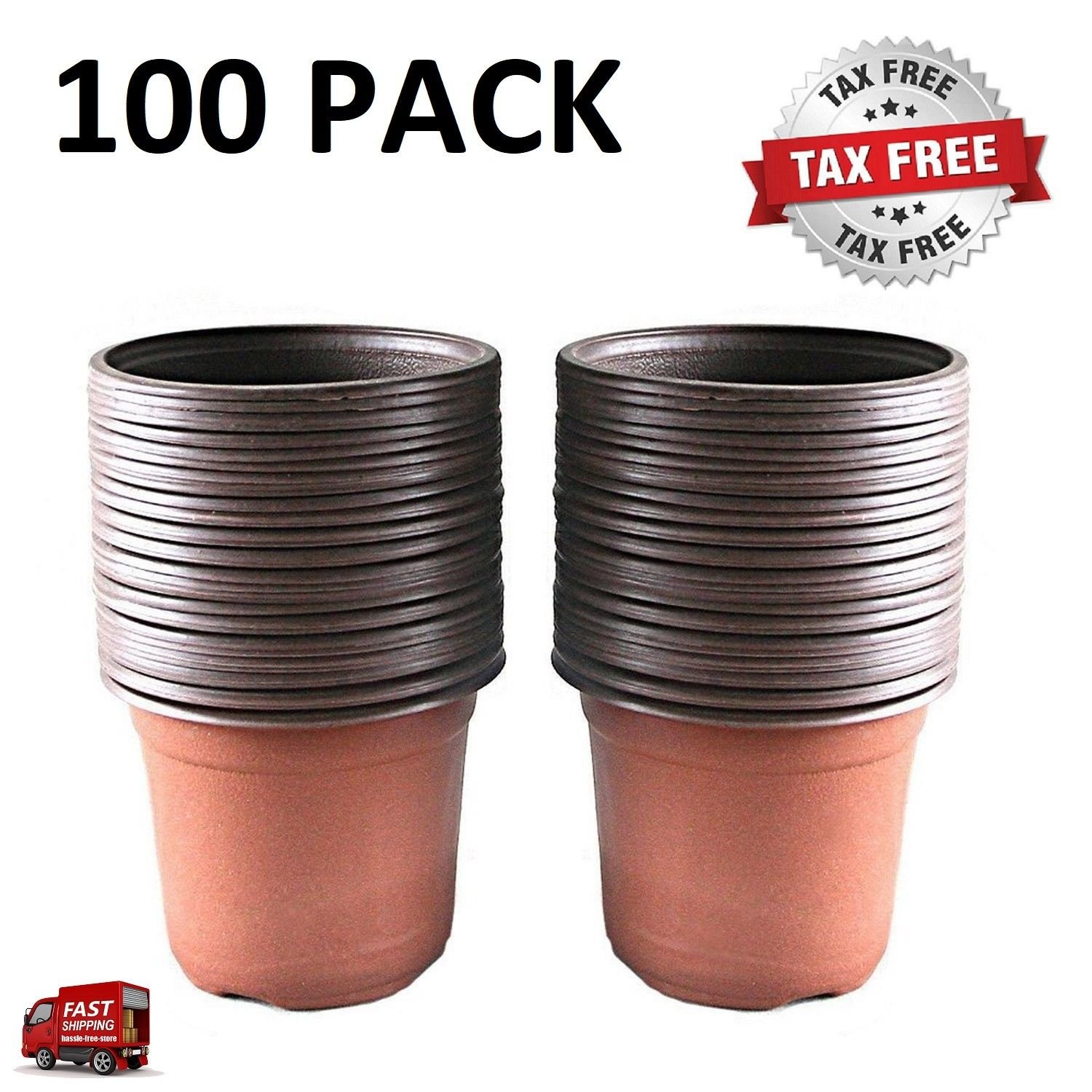 100 Pcs 4.33'' Plastic Plants Nursery Pot/Pots Seedlings Flower Plant Container Seed Starting Pots