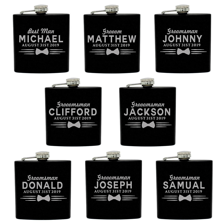 4のセット、7セットand MoreカスタムPersonalizedブラックマットFlasks for Groomsmen Gifts – Uniformスタイル 6oz ブラック MPM0120uniformsets 8  B07F6JS75M