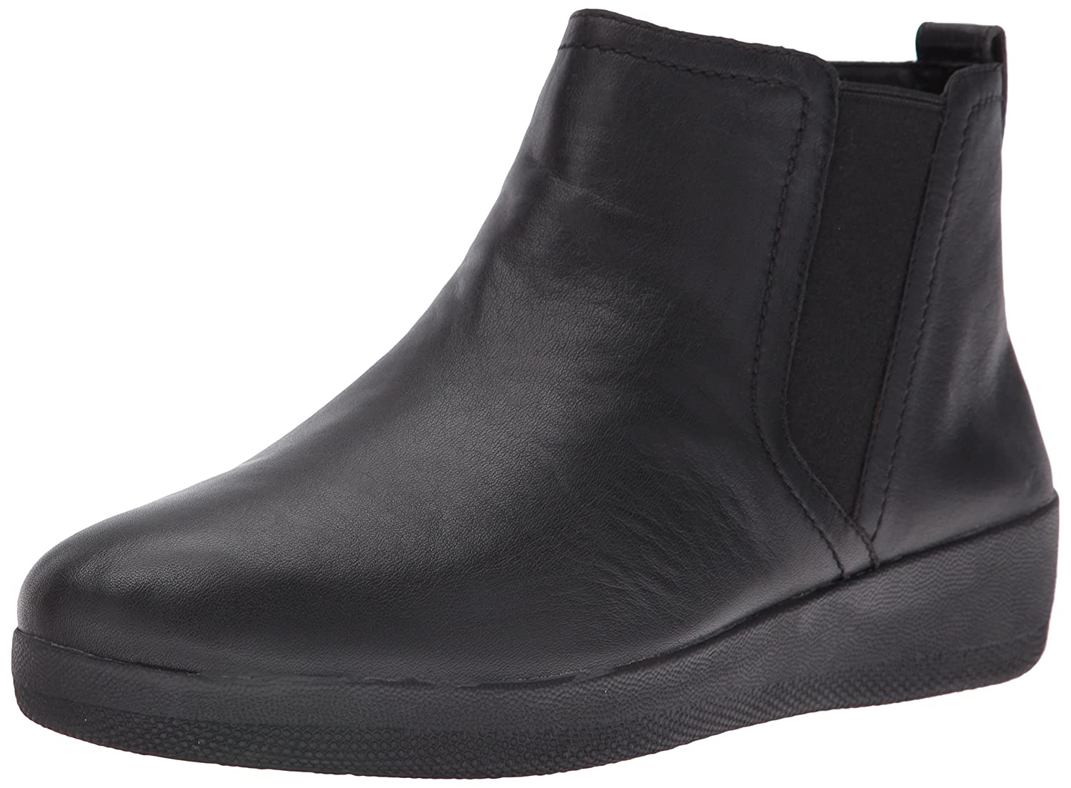 FitFlop™ Superchelsea™ Boot, Casual Ankle Boots In Black Or Chocolate Leather 4.5|Nero (Black)