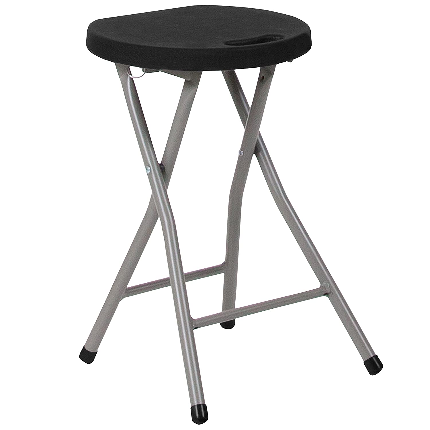 Flash Furniture Foldable Stool with Black Plastic Seat and Titanium Frame DAD-YCD-30-GG
