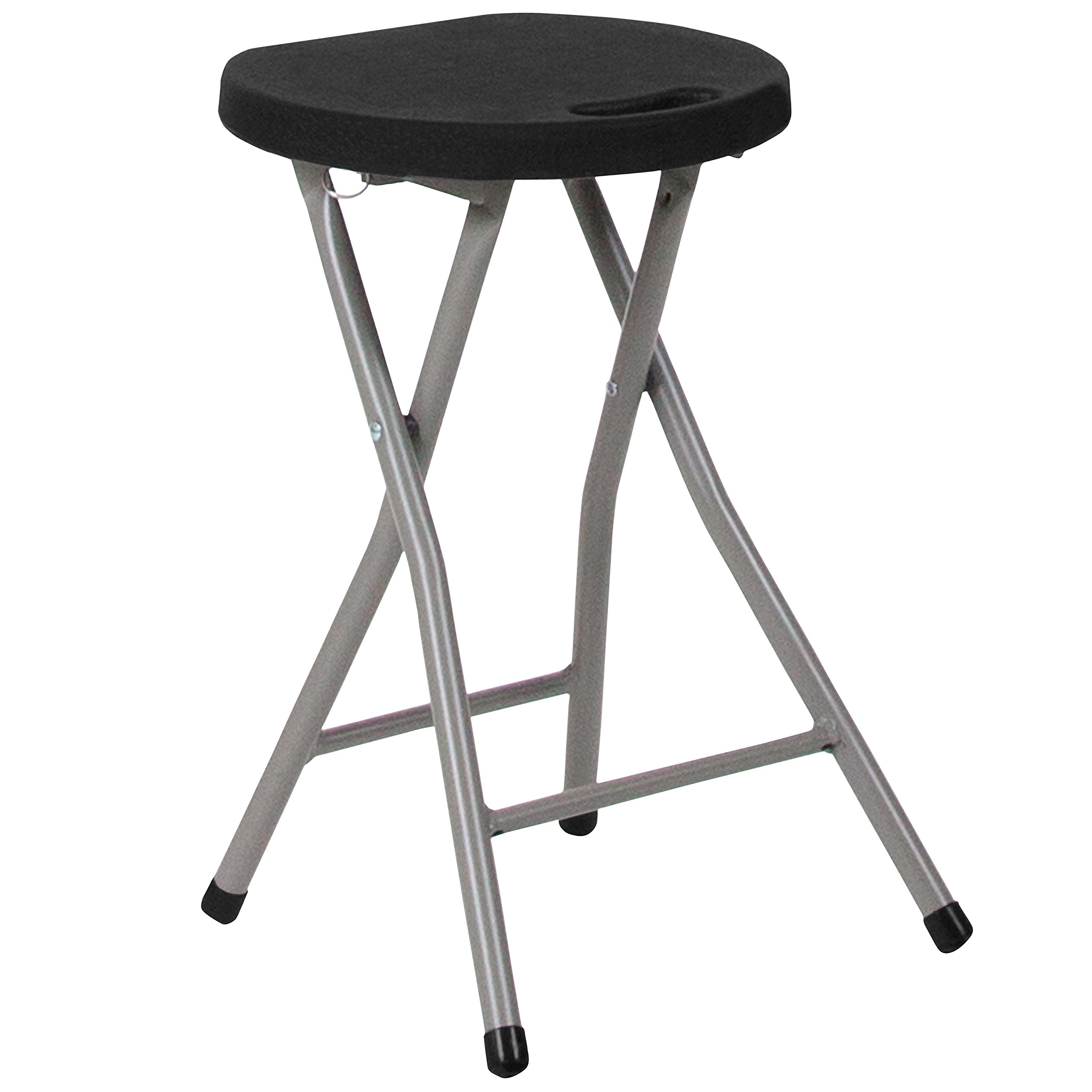 Flash Furniture Foldable Stool with Black Plastic Seat and Titanium Frame