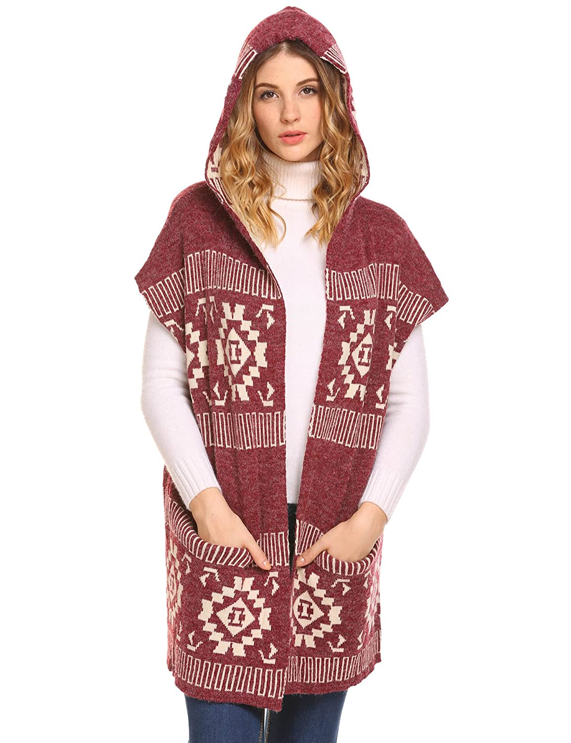 e846a0fc1 EASTHER Women s Knitted Sweater Cardigan Sleeveless Hooded Vest with ...