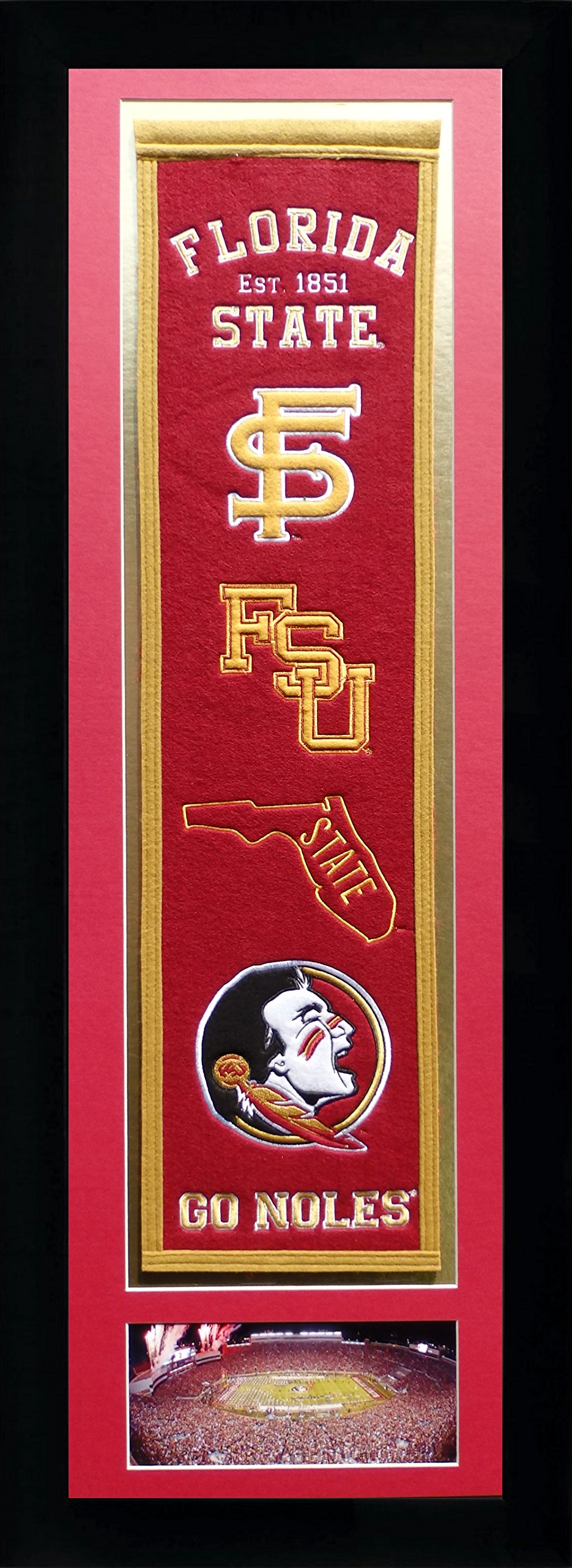 Legends Never Die NCAA Florida State Seminoles Team Heritage Banner with Photo, Team Colors, 15'' x 42'' by Legends Never Die