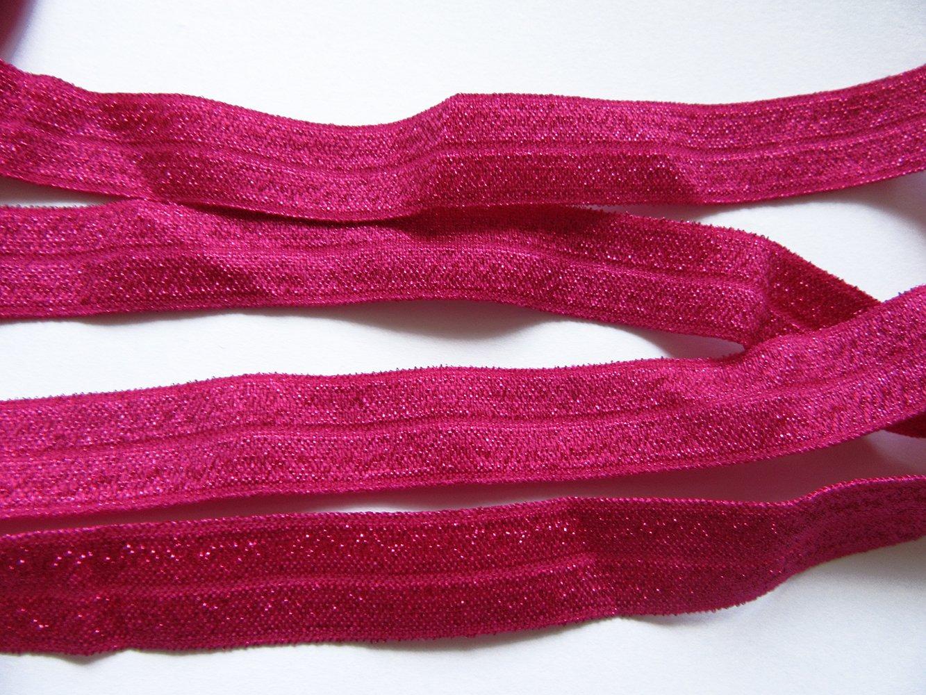Silver YYCRAFT 5//8 15 yards Glitter Fold Over Elastic Stretch Foldover FOE Elastics for Hair Ties Headbands