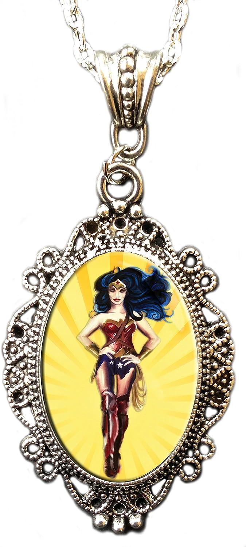 Alkemie Wonder Woman Cameo Pendant Necklace