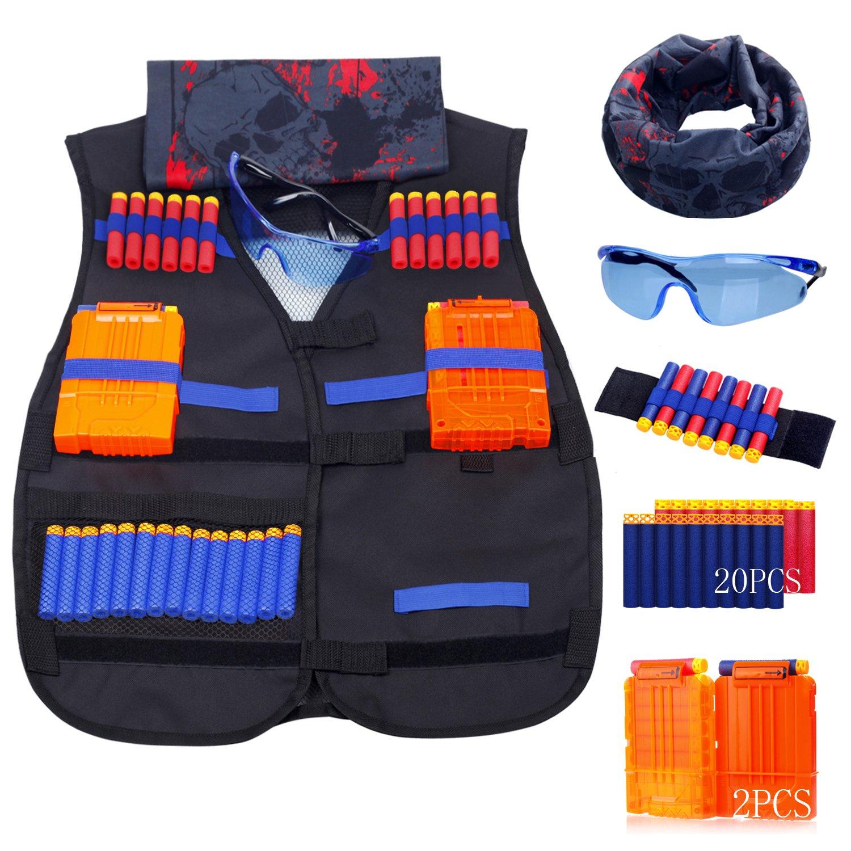 Durable Modeling Satkull Kids Tactical Vest Kit For Nerf Guns N Reload 1500 Strike Elite Series